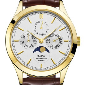 ZEROO ゼロ 電池式クォーツ 腕時計 [ZC001GWH] 並行輸入品 ムーンフェイズ カレンダー