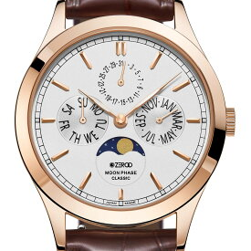 ZEROO ゼロ 電池式クォーツ 腕時計 [ZC001RWH] 並行輸入品 ムーンフェイズ カレンダー