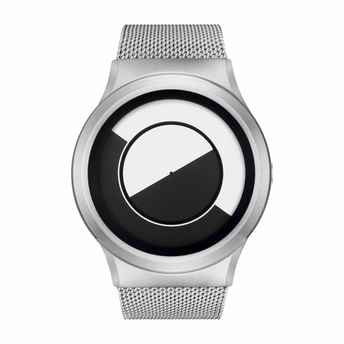 ZEROO QUARTER MOON ゼロ 電池式クォーツ 腕時計 [W08031B01SM01] ホワイト デザインウォッチ ペア用 メンズ レディース ユニセックス おしゃれ時計 デザイナーズ