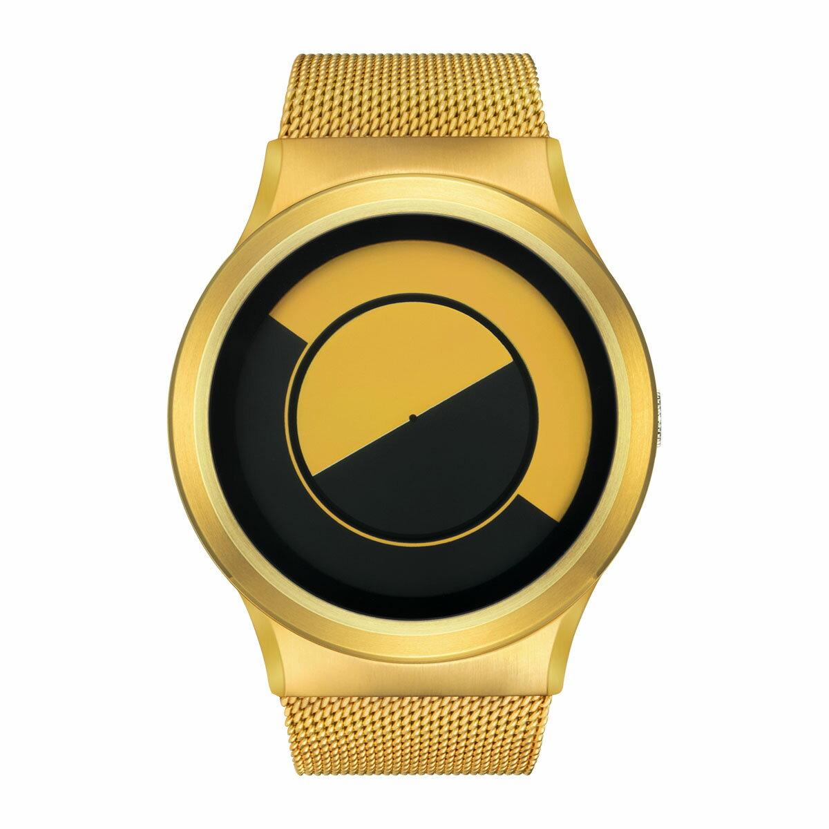 ZEROO QUARTER MOON ゼロ 電池式クォーツ 腕時計 [W08034B04SM04] イエロー デザインウォッチ ペア用 メンズ レディース ユニセックス おしゃれ時計 デザイナーズ