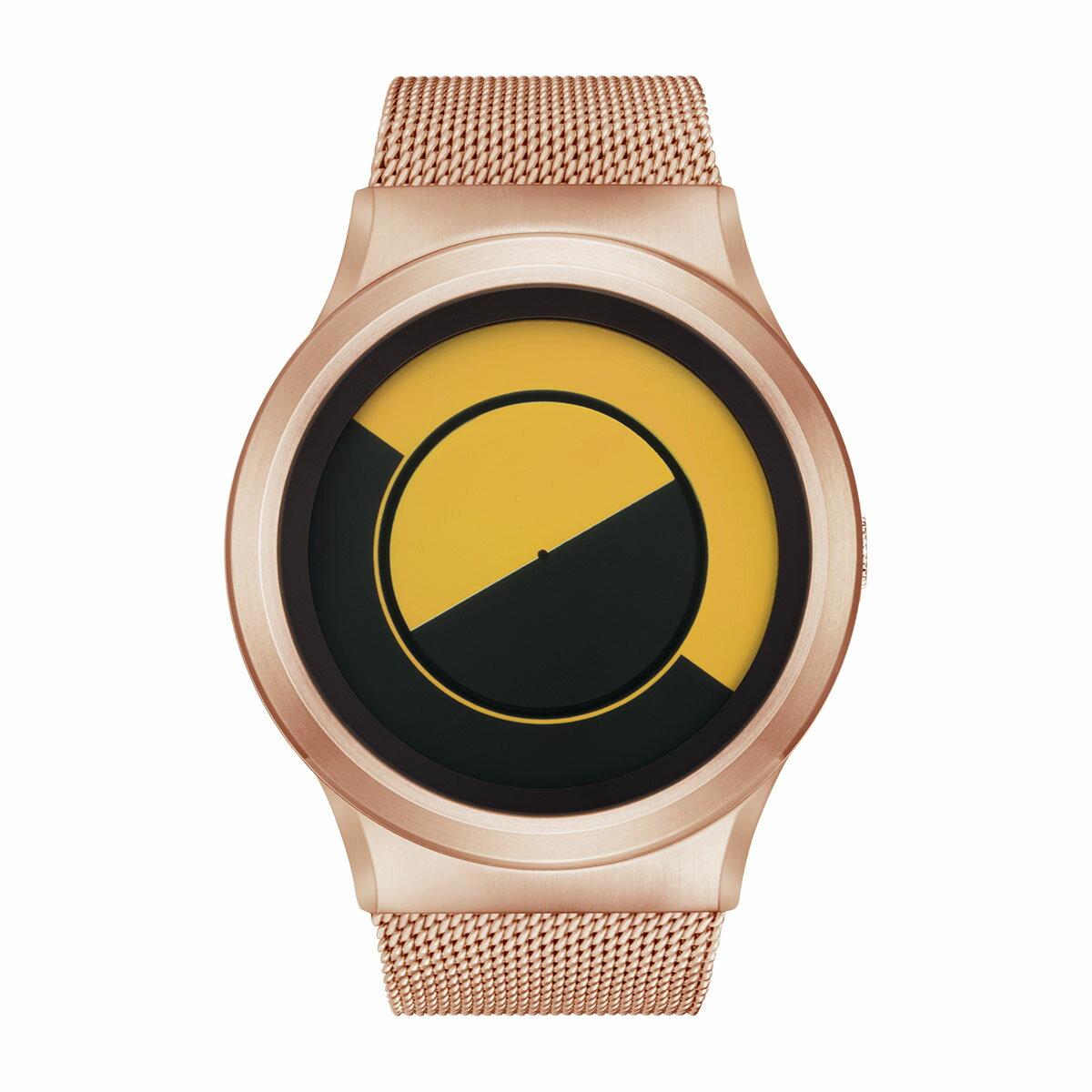 ZEROO QUARTER MOON ゼロ 電池式クォーツ 腕時計 [W08034B05SM05] イエロー デザインウォッチ ペア用 メンズ レディース ユニセックス おしゃれ時計 デザイナーズ