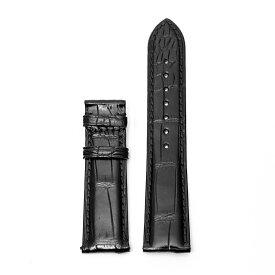 ZEROO ゼロ 腕時計用 レザーベルト, ワニ革 社外品 汎用品 取付幅:20mm (尾錠)バックルなし [ZCSBK20]