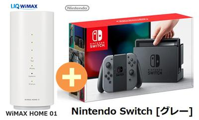 UQ WiMAX 正規代理店 3年契約UQ Flat ツープラス任天堂 Nintendo Switch [グレー] + WIMAX2+ WiMAX HOME 01 ニンテンドー スイッチ ゲーム機 セット 新品【回線セット販売】B