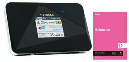 月額900円(税抜)〜 NETGEAR WiFi LTE モバイルルーター SIMフリー AirCard AC785-100JPS+データ専用 SIMカード付 IIJmioウェルカムパック(microSIM)SIMフリ- 11b/g/n グローバル対応 NTTドコモ回線(docomo 回線) LTE【送料無料】