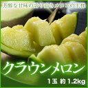 【送料無料】静岡県産 『クラウンメロン』 山等級 1玉 (約1.2kg) 化粧箱入り
