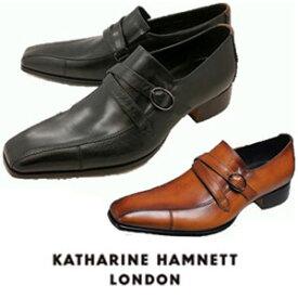 キャサリンハムネット 靴 ビジネスシューズ 本革 KATHARINE HAMNETT 31501 ブラック ダークブラウン ブラウン メンズ 紳士 スワロートゥ サイドストラップ スリッポン レザーシューズ ビジカジ