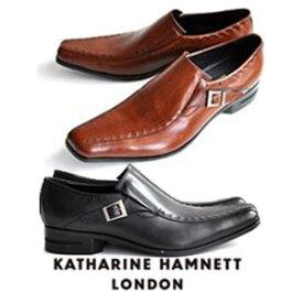 キャサリンハムネット メンズ 靴 ビジネスシューズ 革靴 紳士靴 本革 ブランド スワローモカ サイドストラップ スリッポン レザーシューズ KATHARINE HAMNETT 31600 ブラック ブラウン