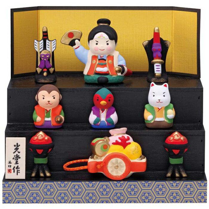 薬師窯 五月人形 錦彩段飾り桃太郎