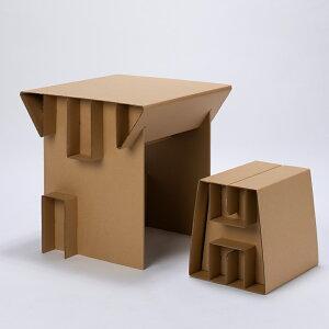 オフィス家具 デスク チェア PCデスク 学習机 作業台 ダンボール製 段ボール製 使い捨て 組立簡単 廃棄も簡単 机・椅子セット サガシキ製造 日本製 ハコデデスク hacodeデスク hacode テ