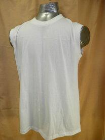 【送料無料】【消費税込】メンズ ノースリーブ 丸首 白Tシャツ綿100% M・L・LL紳士 スリーブレスサーフシャツ