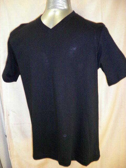 【送料無料】【消費税込】紳士メンズ 半袖 V首 黒Tシャツ綿100% M・L・LL