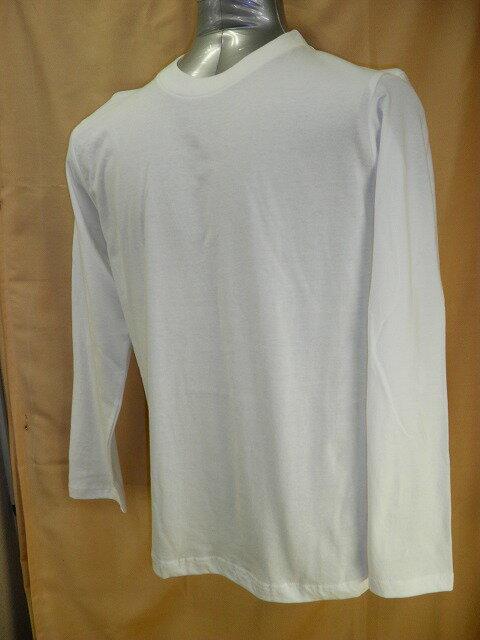 【送料無料】【消費税込】紳士メンズ 長袖 丸首 Tシャツ白・黒・グレー綿100% M・L・LL