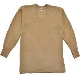 【送料無料】紳士 エクスラン長袖 U首シャツ【M・L】らくだ色裏起毛・静電気防止加工アクリル(エクスラン)100%日本製 保温肌着吸汗速乾厚地で温かです。 LLもあります。ノエール