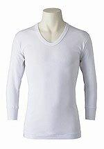 【送料無料】紳士 アサメリー 長袖U首シャツ M・L糸から日本製の最高級品アングル 夏肌着 綿100% シロ蒸し暑い、日本の夏に 最高の肌着です。
