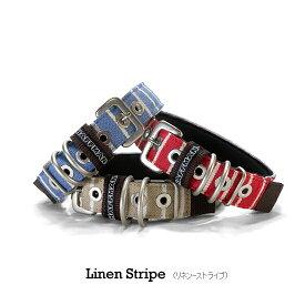 金属バックル首輪(ベルトタイプ)linen-stripe(リネンストライプ) Type-B 25mm幅 犬の体重=30kgまで ナイロン(中型犬用)