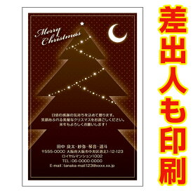 【差出人印刷込み 30枚】 クリスマスカード XS-28 カード クリスマス ハガキ 印刷 Xmasカード 葉書