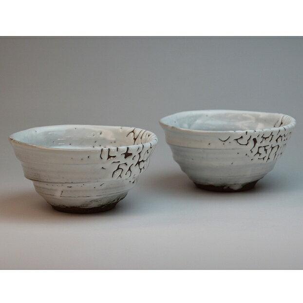 萩焼 かいらぎ組飯茶碗 圭一郎作(化粧箱) Hagi yaki Kairagi 2 bowls made in Japan. Japanese pottery. Free shipping.