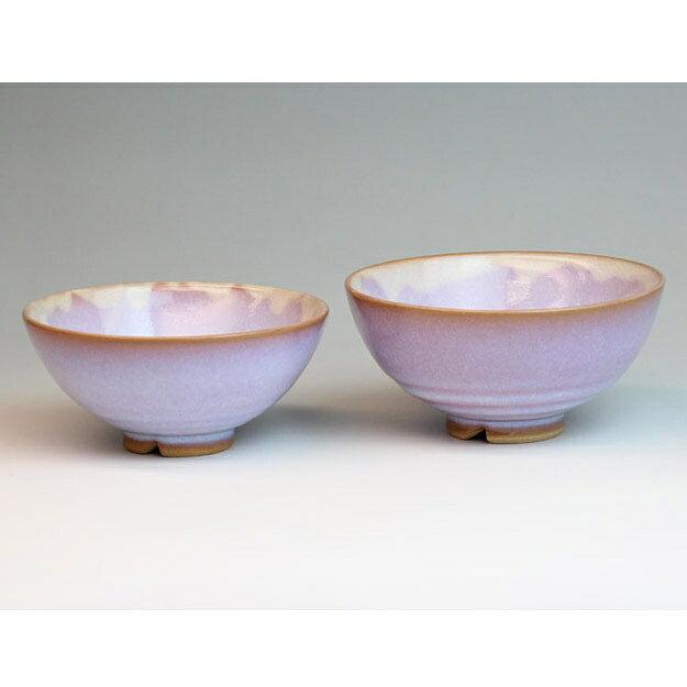 萩焼 萩むらさき組飯碗(化粧箱) Hagi yaki purple 2 small bowl made in Japan. Japanese pottery. Free shipping.
