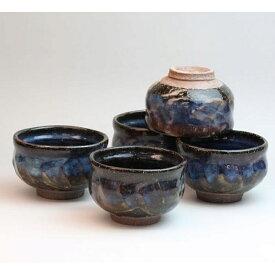 萩焼 青萩汲出し揃 清玩作 木箱入 Japanese ceramic Hagi-ware. Set of 5 aohagi yunomi teacups. Wooden box.