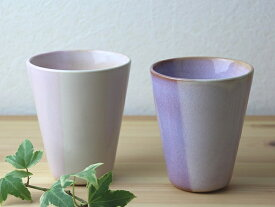 萩焼 shikisai ペアカップ 木箱入 Japanese ceramic Hagi-ware. Set of 2 shikisai teacupas with wooden box.