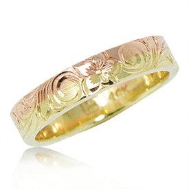 ハワイアンジュエリー リング 14K ゴールド Laule'a ラウレア オーダーメイド ツーカラー リング 4mm幅1.5mm厚 レディース 女性 メンズ 男性 指輪 ハワジュ 刻印無料 送料無料 OGR092-4mm