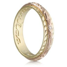 ハワイアンジュエリー リング 14K ゴールド Laule'a ラウレア オーダーメイド ツートーンストレートリング レディース 女性 メンズ 男性 指輪 ハワジュ 刻印無料 送料無料 OGR017