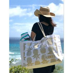 大きめハワイアンバッグ ペーパー ストロー トートバッグ ハワイ柄 パイナップル ハワイアン雑貨