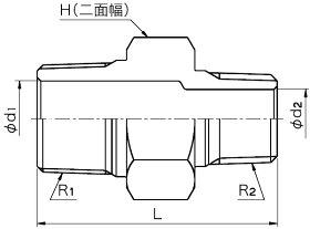 フローバル:異径ニップル<VRN>型式:VRN-1204