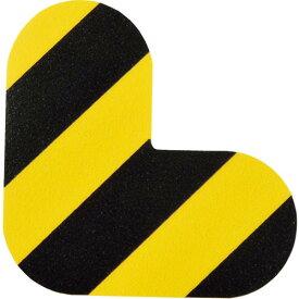 緑十字 路面表示ステッカー L型 黄/黒 QCL−TR 100×100mm 10枚組 PVC ( 403015 ) (株)日本緑十字社