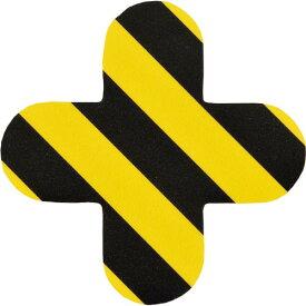 緑十字 路面表示ステッカー 十字型 黄/黒 QCC−TR 150×150mm 10枚組 PVC ( 403035 ) (株)日本緑十字社
