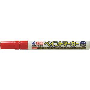 シンワ 工事用 ペイントマーカー中字 丸芯 赤 ( 78415 ) シンワ測定(株)