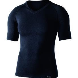 【季節商品】 おたふく手袋(株) おたふく BTデュアルクロス ショートスリーブVネックシャツ ブラック S〜M JW59111SM (1477726)