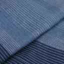 阿波しじら織り 木綿 着物 単衣きもの《仕立代込み》ブルー地白縞に紺ライン No.56 【受注生産】【送料無料】