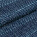 阿波しじら織り 木綿 着物 単衣きもの《仕立代込み》青と紺の絣格子 No.78 【受注生産】【送料無料】
