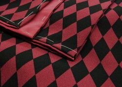 洗える着物袷小紋菱黒赤お仕立て上がりプレタレディース着物《創世舎》ダイヤ(アカ×クロ)〔M・Lサイズ〕【送料無料】