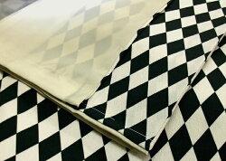 洗える着物袷小紋菱黒白ブラウンお仕立て上がりプレタレディース着物《創世舎》ダイヤ(ベージュ×クロ)〔M・Lサイズ〕【送料無料】