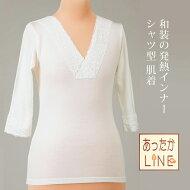 旭化成の発熱繊維サーモギアで冬もぽかぽか♪日本製あったかLINEシャツ型肌襦袢(レース付き)【メール便OK】