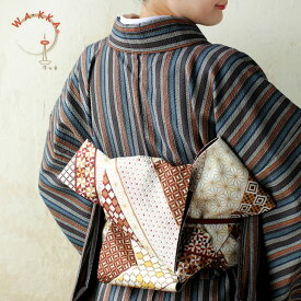 半幅帯 正絹《WAKKA》お仕立て上がり 染リバーシブル半巾帯 ブラウン調幾何学模様 寄木ダンス(白茶)SH-053-1【YM】