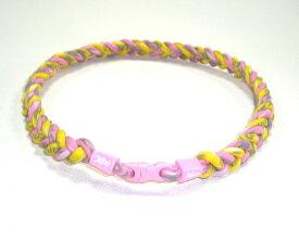 ファイテン RAKUWAネックX50クラウド 4つ編み 仕上がり約50cm(ピンク×イエロー)