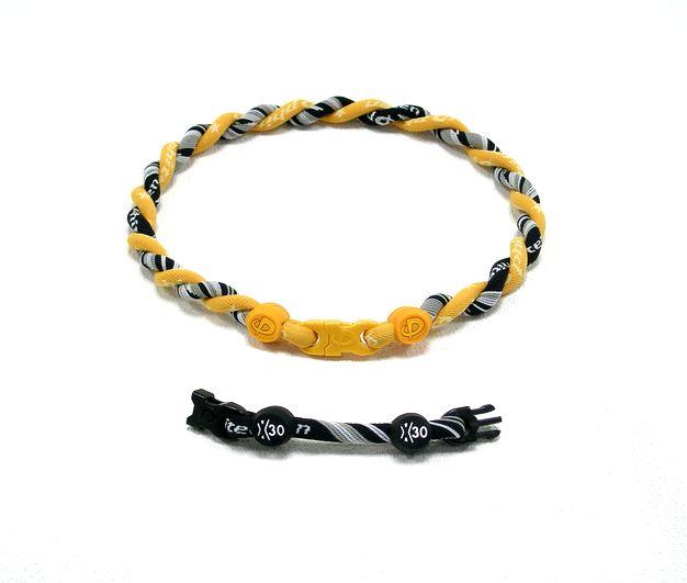 ファイテン Titanium Necklace(チタンネックレス) ゴールド×RAKUWAネック X30 (ブラック/WH)仕上がり約40cm(アジャスター約8cmつき)