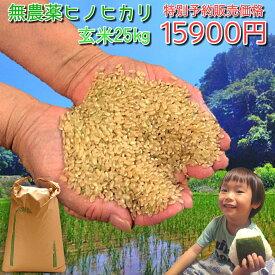 楽天市場オープンセール【予約販売】送料無料 無農薬 無化学肥料で栽培 ヒノヒカリ 玄米 25kg 令和元年 熊本県産 美味しい お米 生産者 直送 こめ コメ 米 有機肥料 新米