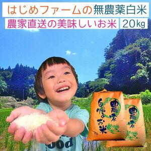 無農薬 白米 20kg ヒノヒカリ 送料無料 無農薬 無化学肥料で栽培 はじめファームの美味しいお米