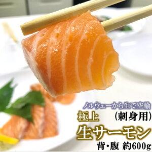 アトランティックサーモン 生 刺身用 背・腹セット 約600g 切るだけ とろける脂 鮭 ノルウェー サーモン 刺身 冷蔵便 お取り寄せ グルメ 目利き食道