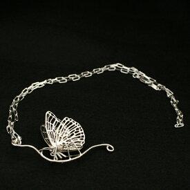 バタフライネックレス(ペンダントトップ付き)「休息をとるオオムラサキ(A)」銀で精巧に作られた蝶のペンダントネックレス。蝶ネックレス シルバーネックレス 蝶のネックレストップ