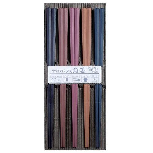 おもてなし 客用箸 彩り六角 PBT箸 食洗機対応 5膳 お箸 SUNLIFE(サンライフ) #