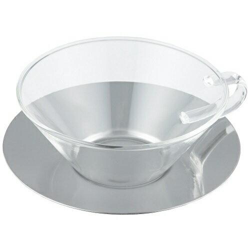 LAVIA ティーカップ&ソーサー シャロウ ステンレスソーサー 耐熱ガラス ADERIA(アデリア) H-8597