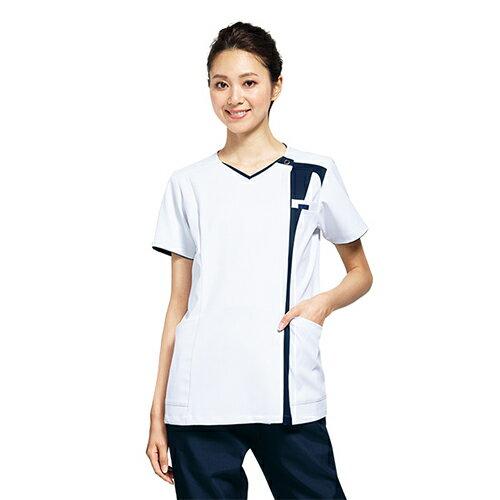 7052SC 着脱しやすい ジップアップタイプ 女性用スクラブ フォーク製品 (白衣 医療用白衣 看護師用 ナース ホワイト ネイビー 通販 楽天 白衣ネット)