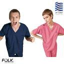 7070SC フォーク ナースウェア 色落ちしない スクラブ 男女兼用 透け防止 吸汗速乾 色落ちなし FOLK 医療用 看護師 医…