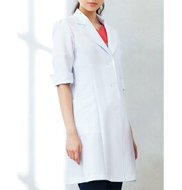 HI402 ワコール(Wacoal) 女性用ドクターコート6分袖 (白衣 看護師用 ナース 女性 白 ホワイト フォーク 白衣ネット)