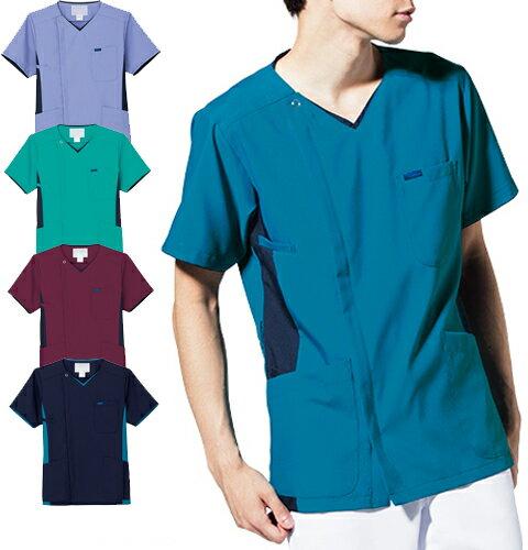 7025SC FOLK メンズジップスクラブ(白衣 ドクター ナースウェア 介護 男性 病院 医院 クリニック 前開き ファスナー 通販 楽天 白衣ネット)